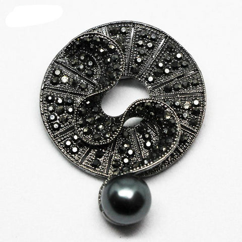 Elegant Black Crystal Round Brooch