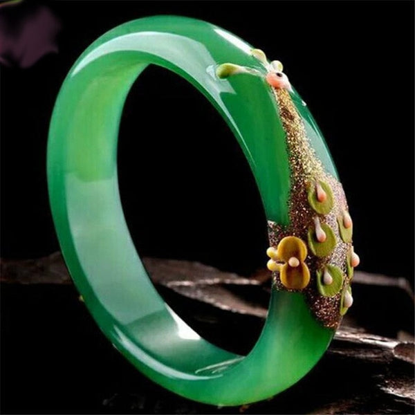 Natural Green Peacock & Flower Cuff Bangle