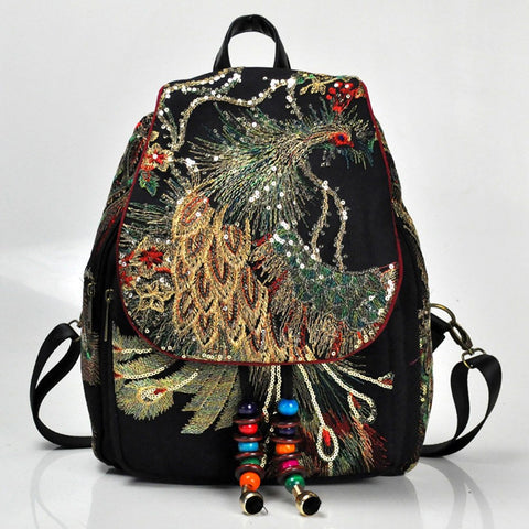 Gorgeous Bohemian Peacock Sequin Backpack