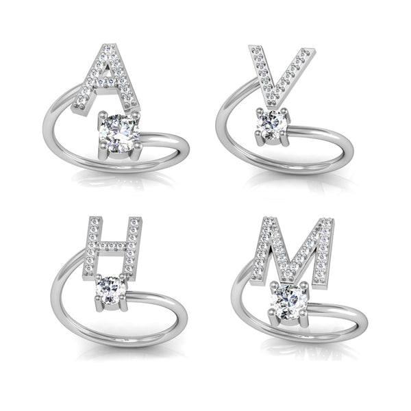 Silver Letters Twist Ring
