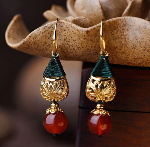 Vintage Water Drop Red Stone Earrings