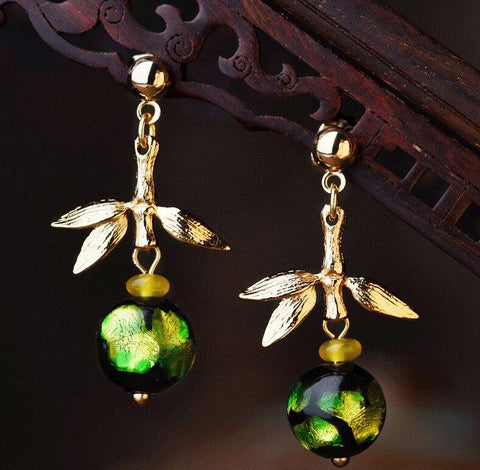 Gorgeous Green Glass Leaf Drop Earrings