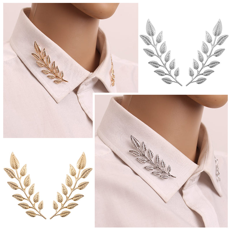 Exquisite Tree Leaf Collar Pins