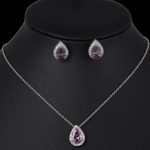 Water Drop Crystal Wedding Jewelry Sets