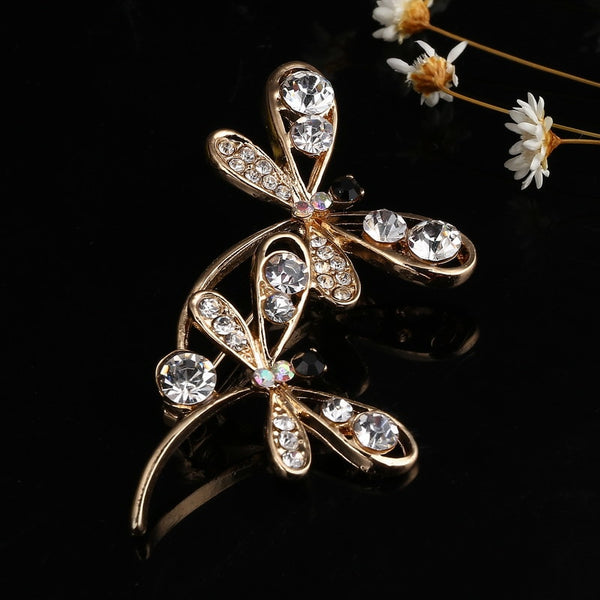 Vintage Crystal Pair Dragonfly Brooch
