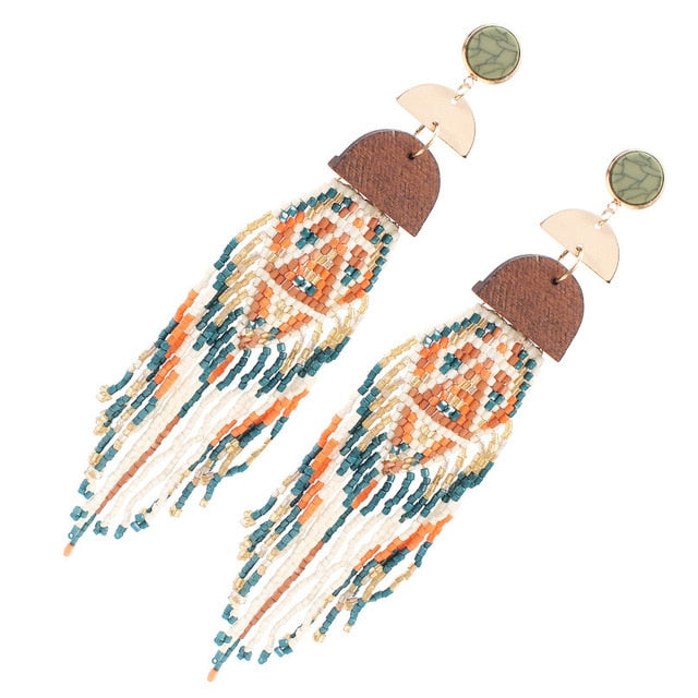 Boho Indian Tassel Bead Earrings
