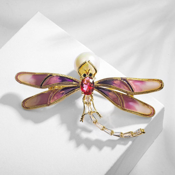 Exquisite Crystal Pearl Dragonfly Brooch