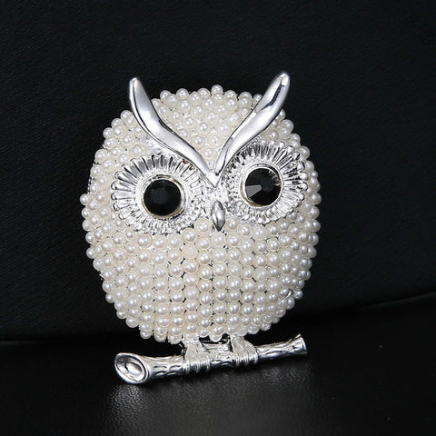 Decorative Pearl Owl Brooches