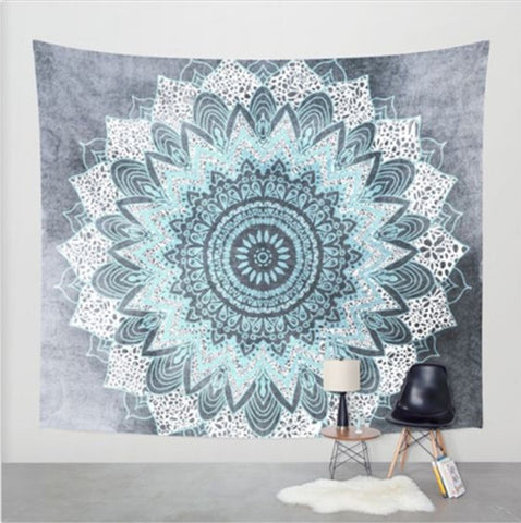 Soft Blue & Grey Mandala Tapestry
