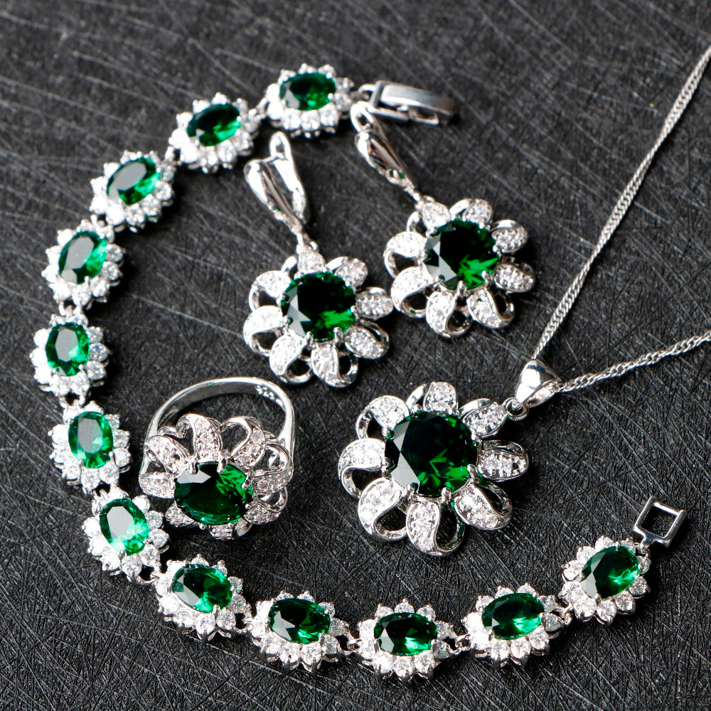 Exquisite Emerald Green Jewelry Sets