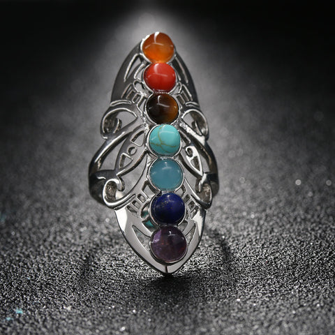 Unique Hollow Chakra Gem Ring