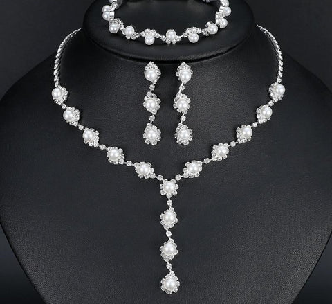 Pearl Crystal Bride Jewelry Sets