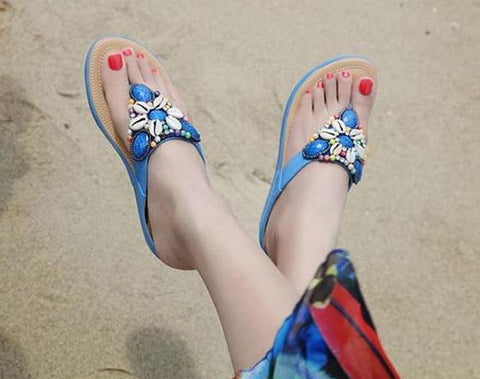 Seashell Floral Beaded Sandals