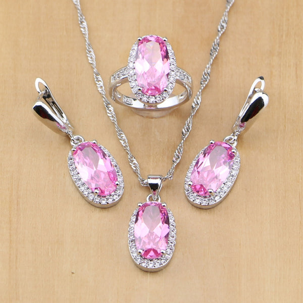 Mystical Pink Silver Jewelry Set