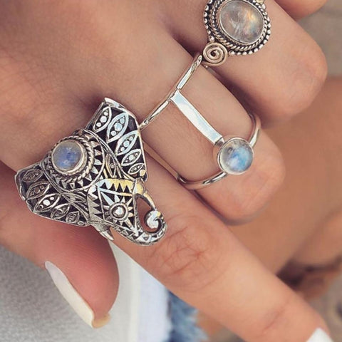 3 Piece Vintage Silver Bohemian Elephant Ring Set