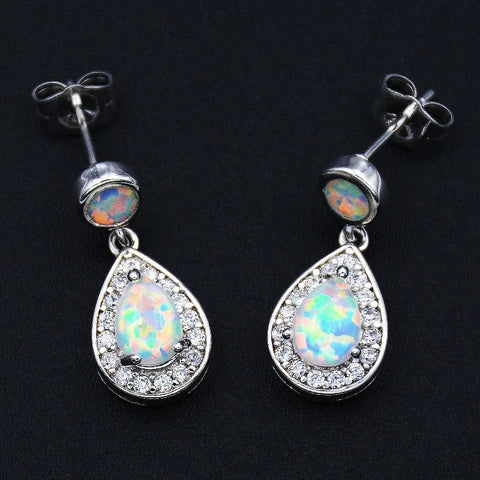 Vintage Drop Fire Opal Earrings