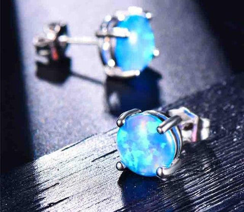 Beautiful Fire Opal Stud Earrings