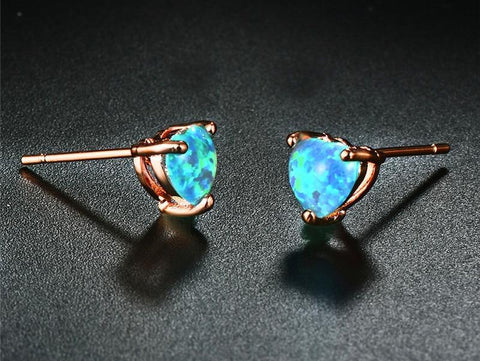 Fire Opal Heart Rose Gold Stud Earrings