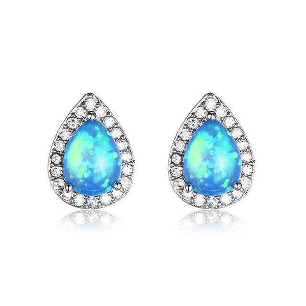 Vintage Silver Fire Opal Earrings
