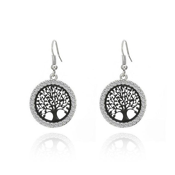 Tree of Life Gold Crystal Edged Earrings