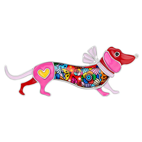 Cute Collar Dachshund Dog Brooches