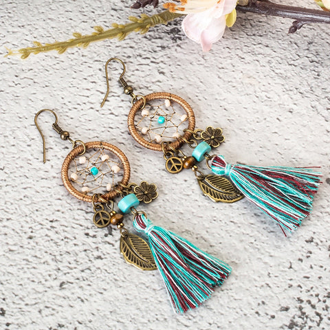 Beautiful Bohemian Dream Catcher Tassel Earrings