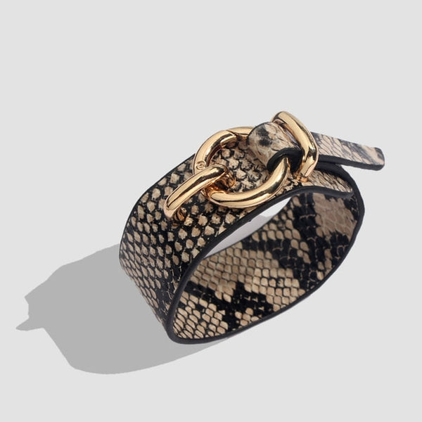 Snakeskin Pattern Leather Cuff Bracelets