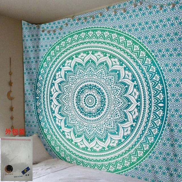 Indian Mandala Aqua Marine Tapestry