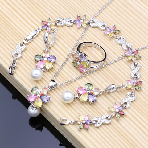 Rainbow Flower White Pearl Silver Jewelry Sets