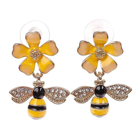Bee Drop Flower Earrings