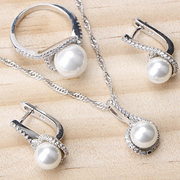 Sterling Silver Bridal Pearl Jewelry Sets