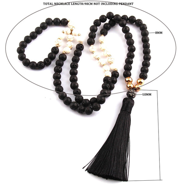 Boho Lave Stone Tassel Necklaces