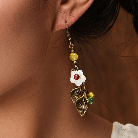Antique Stone Flower Vintage Drop Earrings