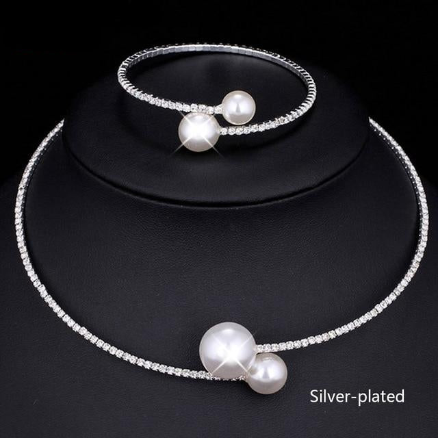 Crystal Pearl Wedding Jewelry Sets