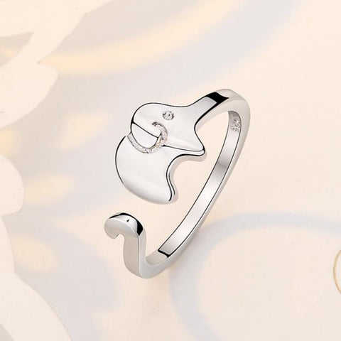 Cute Silver Elephant Ring