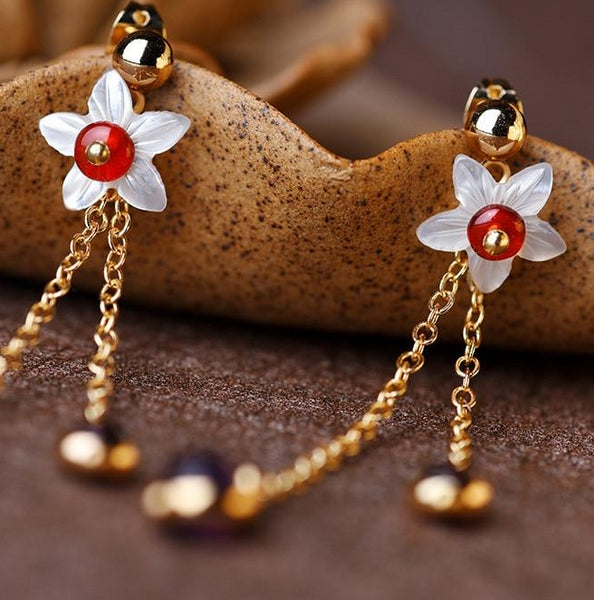Elegant Crystal Flower Drop Earrings