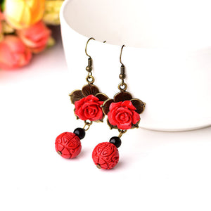 Elegant Rose Drop Earrings