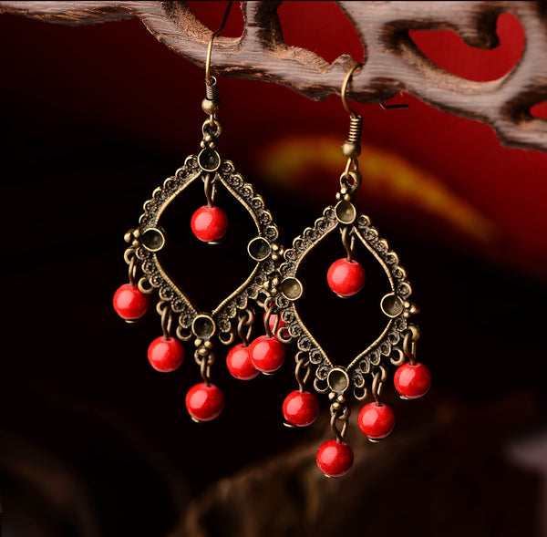 Vintage Bohemian Stone Drop Earrings