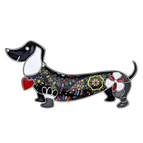 Smiling Dachshund Dog Brooch