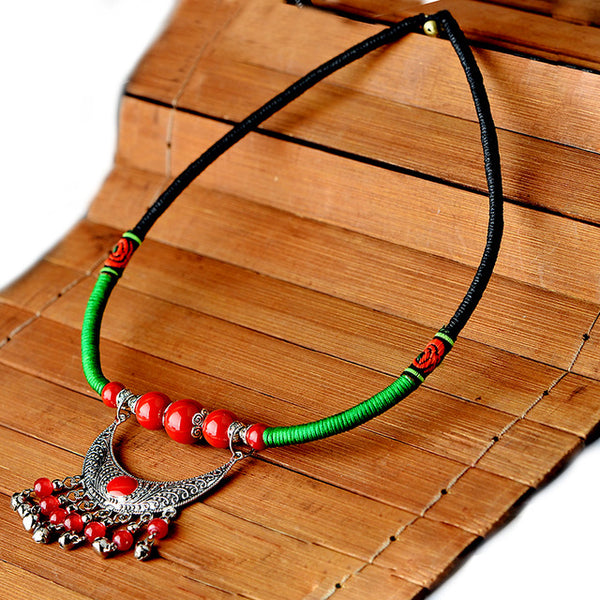 Tibetan Statement Ethnic Moon Necklace