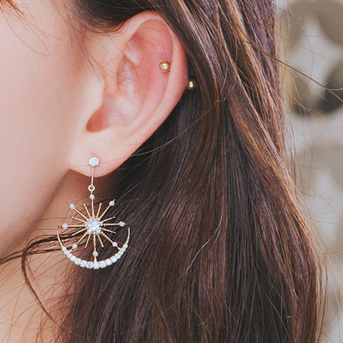 Crystal Star & Moon Earrings