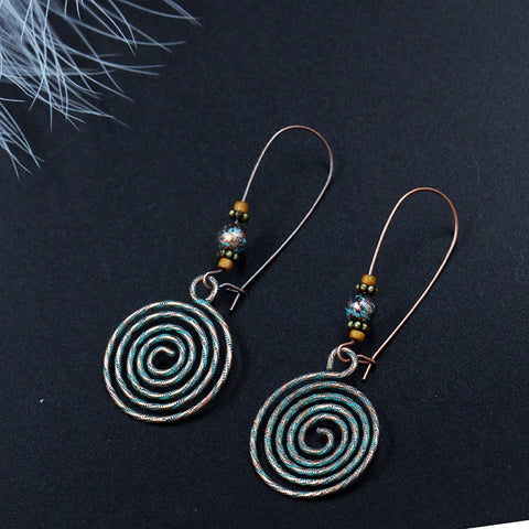 Antique Bronze Swirl Drop Earrings