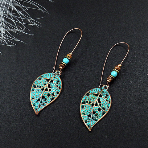Ethnic Bronze Leaf Drop Earrings
