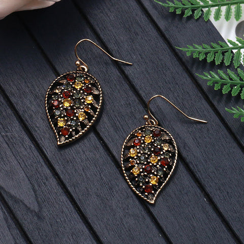 Ethnic Crystal Leaf Drop Earrings
