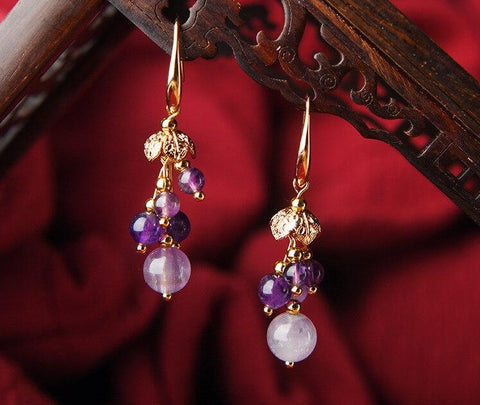Elegant Purple Crystal Earrings