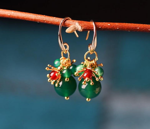 14k Gold Flower Green Chalcedony Ball Earrings