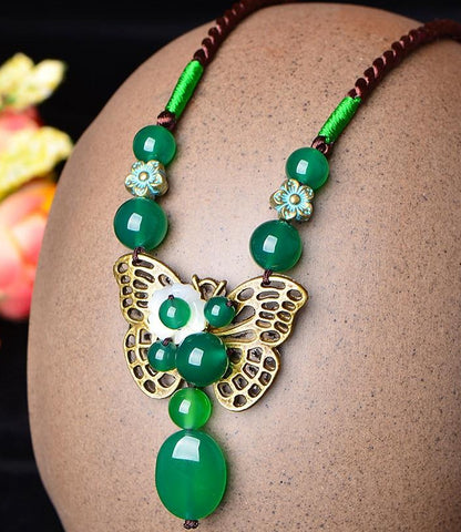 Green Crystal Butterfly Ethnic Necklace