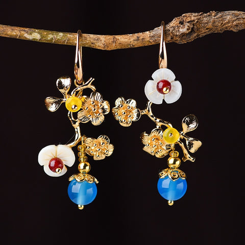 Elegant 14k Gold Blue Agate Earrings