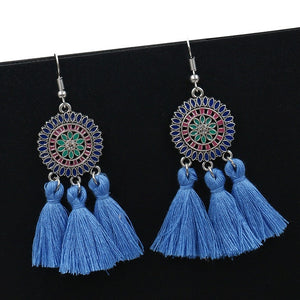 Boho Ethnic Tassel Disc Earrings