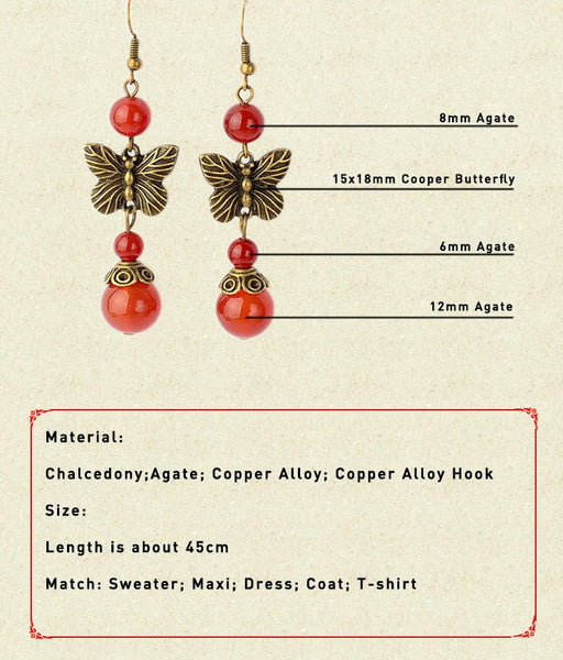 Ethnic Butterfly Bowknot Drop Earrings